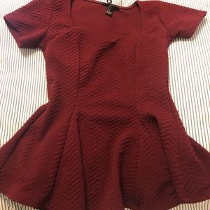 Forever21 — Ribbed Maroon Peplum Top